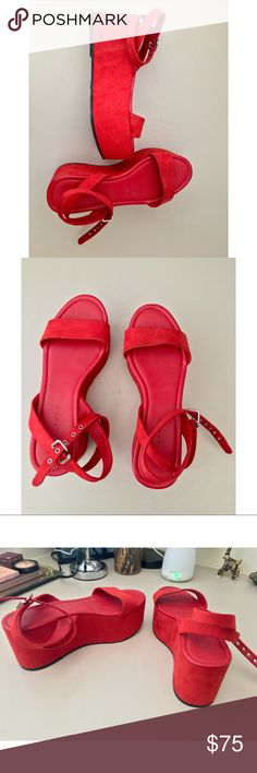 Kendall + Kylie Red Platform Shoes Worn once. Super comfortable and surprisingly easy to walk in. Adjustable ankle strap with silver buckles. Great statement piece! Size 9.5 Kendall & Kylie Shoes Platforms