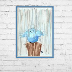 Blue bird watercolor print playing in the rain by JenuoneArt by Jen Monson #artprint #etsy #forsale #homedecor #walldecor #smallbusiness #watercolor #wallart #bluebird #rain #happy #fluffy