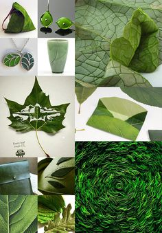 In a previous post, we put together work that looks like dew but is made of crystal and glass. Here, we've selected foliage in the form of fabric, leather, clay, and even sugar.