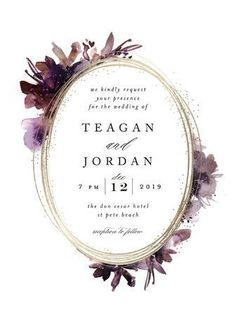 Shimmer Floral & Botanical wreath Foil-pressed Wedding Invitations in Mauve. Click to see more colors and 30+ water color wedding invites: http://www.confettidaydreams.com/watercolor-wedding-invitations/