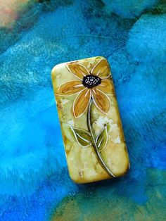 Day 258: Gold Flower in Alcohol Ink on Domino