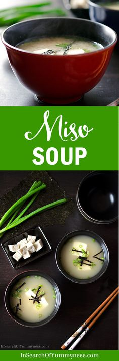 Traditional miso soup is made with dashi (a Japanese stock), miso paste and a few toppings. This miso soup from In Search Of Yummy-ness omits the dashi, in favour of easier to find stocks. Whole30 Soup Recipes, Best Soup Recipes, Chowder Recipes, Healthy Soup Recipes, Chili Recipes, Asian Recipes, Favorite Recipes, Drink Recipes, Healthy Meals