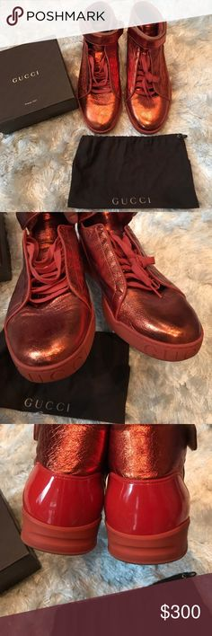 Authentic Gucci Men's Sneakers Authentic Gucci Men Napa Shinny Leather High-Top Lace-up Sneakers. Code 337216 (Size 11 G/12US). Gently worn (Please refer to pictures) dust bag and box not included. Gucci Shoes Sneakers