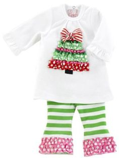 Mud Pie Santa Baby Ruffle Tree Tunic And Leggings Set