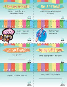 Lunchbox Notes for Elementary kiddos. Also have notes for older kids! Notes For Kids Lunches, Lunch Notes, Kids Meals, School Lunch Box, School Days, Back To School, Separation Anxiety, Kids Learning, Activities For Kids