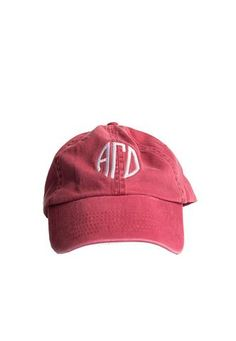 This vintage hat is great to use on a sunny day! A deep raspberry color  with white monogram embroidery on both sides. 08ee95b87c26