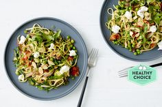 Photo for the dish: Spring Vegetable Linguine with Rocket and Goat's Curd