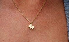 Matte gold personalized elephant initial by KimMcCallJewelry
