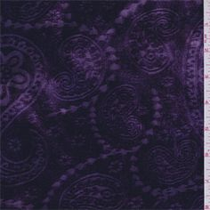 Purple and lilac mottled background with a paisley burnout design. This soft, lightweight polyester fabric has a beautiful sheen andstretch.Compare to $12.00/yd