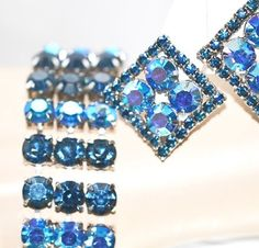 Midnight Blue Aurora Borealis Flat Braclet Matching Earrings - pinned by pin4etsy.com