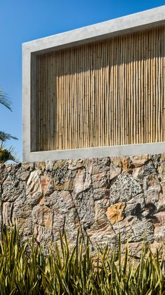 Bamboo screens front Mexican holiday home by Zozaya Arquitectos Bamboo Architecture, Architecture Details, Facade Design, House Design, Bamboo Screening, Hillside Landscaping, Bamboo House, Stone Houses, Minimalist Home
