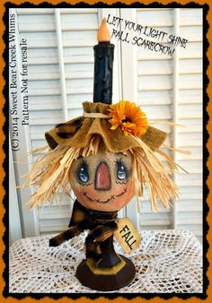 Primitive Scarecrow Pattern, Cloth Doll Pattern, Candle Series Fall Candle, Fall Scarecrow, Primitive Pattern by SweetBearCreekWhims on Etsy Primitive Scarecrows, Scarecrow Crafts, Fall Scarecrows, Halloween Scarecrow, Primitive Fall, Fall Halloween, Halloween Crafts, Primitive Decor, Easy Primitive Crafts