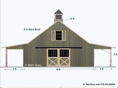2 Stall Horse Barn Plan with loft - Barn Builder in North Ga