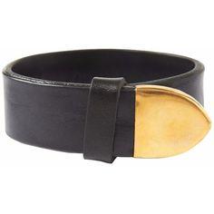 Toast Leather Cuff (6,335 MKD) ❤ liked on Polyvore featuring jewelry, bracelets, black, hinged bangle, leather bangle bracelet, leather jewelry, cuff bangle and bangle bracelet