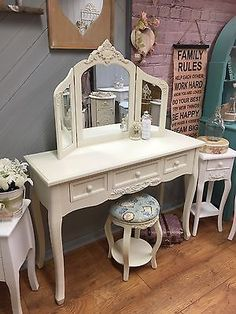 Unbranded Bedroom Country Dressing Tables with Mirror Vintage Style, Vintage Fashion, Dressing Table Mirror, Autumn Home, I Shop, Stool, Shabby Chic, Vanity, Cream