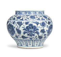 A rare blue and white 'peony' jar, guan, Yuan dynasty