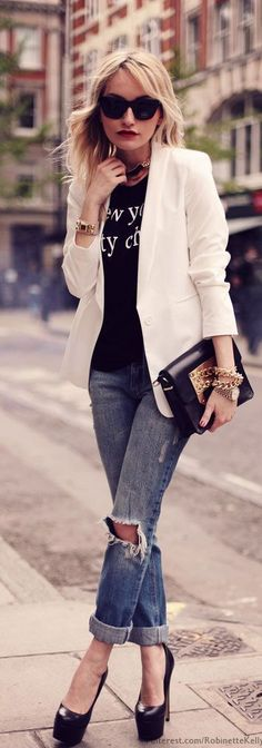 Classic White Blazer , Leather Clutch . Denim and High Heels | New York Outfits