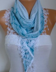 Blue & White Cotton ScarfFallWedding Scarf Necklace Cowl by anils