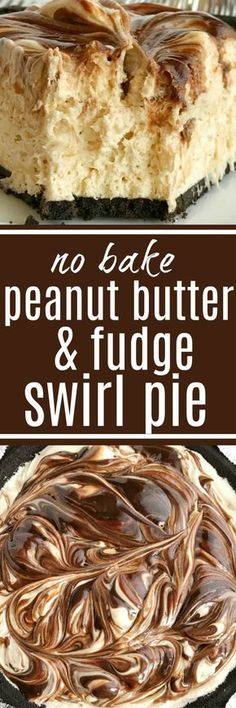 No-bake peanut butter fudge swirl pie if loaded with peanut butter, fudge, and cream cheese inside an easy Oreo cookie crust. So easy to make and the best no bake dessert you will ever eat. If you love peanut butter & chocolate then this pie will become a Peanut Butter Desserts, Peanut Butter Fudge, No Bake Desserts, Easy Desserts, Delicious Desserts, Dessert Recipes, Yummy Food, Dinner Recipes, Cheesecake Desserts