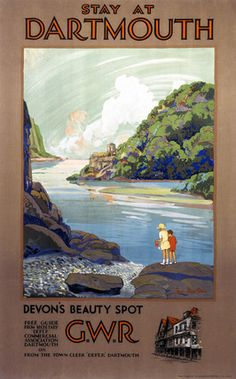 Stay at Dartmouth, Devon's Beauty Spot. Vintage GWR Travel Poster by Frieda Lingstrom Posters Uk, Train Posters, Railway Posters, Online Posters, Illustrations And Posters, Poster Prints, Art Prints, Modern Posters, Travel English