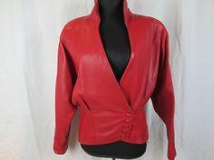 Vtg Wilson's Red Leather Jacket Women's Coat Size L #WilsonsLeather #BasicJacket