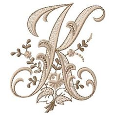 Alphabet Embroidery Design: Monogram K from Gunold