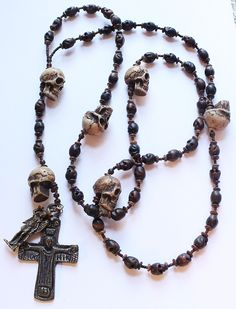 Antique Memento Mori Skull Day of the Dead Wall Nun Rosary by paststore on Etsy