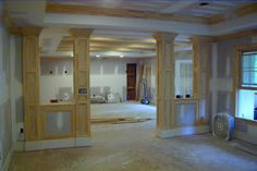 covering basement poles - Google Search- use the basement poles as a half wall to divide the basement