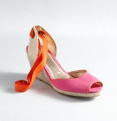 Loretta Tie Wedge Peeptoe Espadrilles: love the pink and orange! #springintothedream