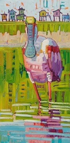 """Spoonbill Staredown, by Rene' Wiley by Rene' Wiley Gallery Oil ~ 24 x 12"