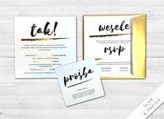 Złota smuga 5.50zł/szt Place Cards, Wedding Invitations, Place Card Holders, Paper, Wedding Invitation Cards, Wedding Invitation, Save The Date Invitations, Wedding Invitation Design