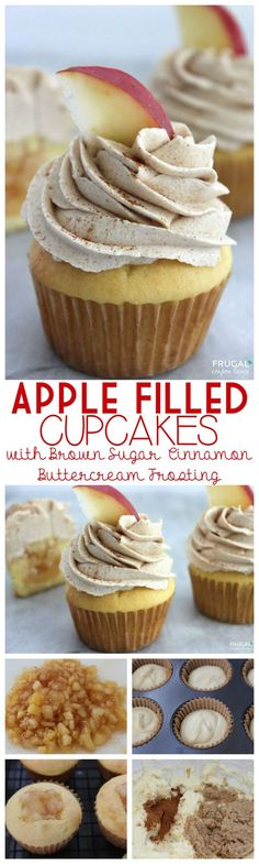 Apple Filled Cupcakes with Brown Sugar Cinnamon Buttercream Frosting on Frugal Coupon Living - Fall Apple cupcake Idea.