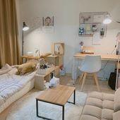Icon image may contain indoor Room Design Bedroom, Small Room Bedroom, Room Ideas Bedroom, Bedroom Decor, Small Bedroom Inspiration, Deco Studio, Study Room Decor, Minimalist Room, Minimalist Apartment