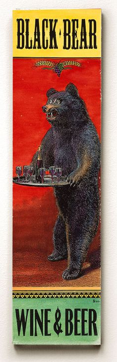 Black Bear Wine and Beer Wood Sign Wall Art