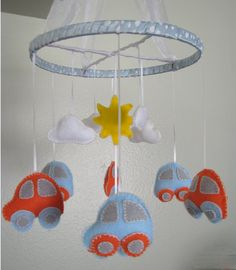 Orange and Sky Blue Baby Mobile Baby Blue, Nursery, Sky, Orange, Create, Mobiles, Unique Jewelry, Handmade Gifts, Park