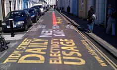 Electricity usage markings on the road in Tidy Street. Photograph: Flemmich Webb