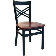 BFM Seating Akrin Black Metal Cross Back Back Restaurant Chairs - Wood Seat at Classroom Essentials Online. Call today for discount prices on restaurant, café & bistro chairs! Bistro Chairs, Cafe Chairs, Dining Chairs, Room Chairs, Office Chairs, Wood Restaurant Chairs, Restaurant Furniture, Rustic Restaurant, Wood Patio