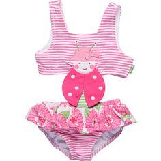 le top kids - Love Bug Stripe Skirted Monokini (Toddler)