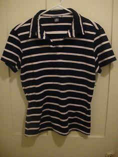 H&M Womens Navy Blue Pink Striped V-Neck Shirt Top Size M Medium Polo Shirt