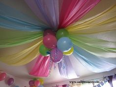 Ceiling decorated with plastic table clothes.