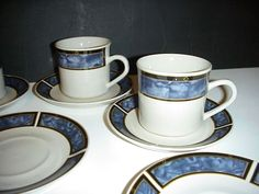 GIBSON ROYAL DUTCHESS BLUE MARBLE 12 PIECE LOT- CUPS & SAUCERS - ALL GREAT SHAPE #Gibson
