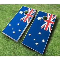 Australian Flag Cornhole Set with Bags Black / Yellow Bags - AUSTRALIAN FLAG BLACK/YELLOW