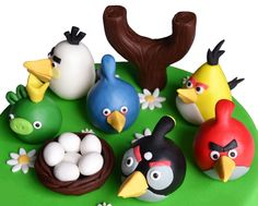 Angry Birds cake topper set by 101cakes on Etsy
