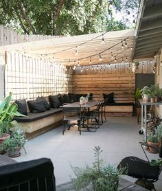 my patio: before after 2019 Cute backyard gathering area. Love the banquette style seating which looks wide enough for a nap. Must be so pretty at night wit the lights on The post my patio: before after 2019 appeared first on Backyard Diy. Small Backyard Landscaping, Backyard Patio, Landscaping Ideas, Cheap Backyard Ideas, Diy Patio, Desert Backyard, Pergola Garden, Backyard Seating, Budget Patio