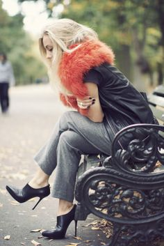 Orange fur, trousers ad leather. Every trend balled into a great outfit.