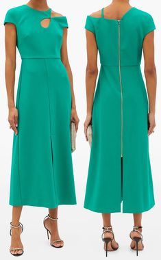 Roland Mouret Dress. Roland Rouret Thean Dress 2020. Smooth crepe shaped with cap sleeves and asymmetric cutouts on the chest and shoulder with a figure-skimming A-line skirt. Green Mother of the Bride dress 2020. Green Mother of the Bride Dresses 2020. Midi Dresses for Winter Wedding Guest 2020. Spring Wedding Mother of the Bride Outfits 2021. Designer Dresses for Mother of the Bride. Best Dresses for Mother of the Bride. Green Midi Dress. #motherofthebride #emeraldgreen #winterwedding…