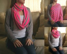 SHIPS NOW -- Nursing Scarf / Infinity Scarf / Nursing Cover - Pretty Neon Pink & Heather Gray Stripes Jersey Knit - 30 x 60 inches, by LittlePicklePie, $20.00