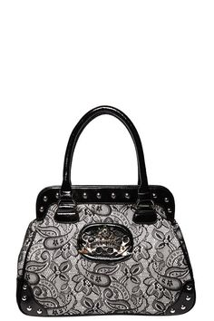 Rock Rebel - Silver With Black Lace Brass Knuckles Bag | Handbags