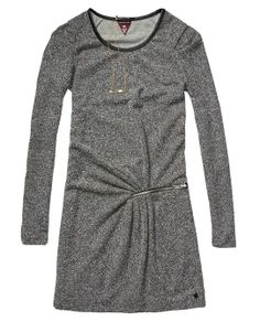 3/4-Sleeved Jersey Dress With Zip And Gathered Waist Detail