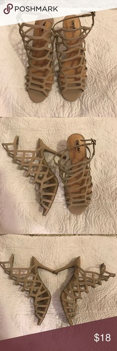 Steve Madden Inspired Mossimo Tan Caged Heels Never worn!!! Mossimo caged tan heels from Target, dupe of the Steve Madden Version... size 9 Steve Madden Shoes Heels